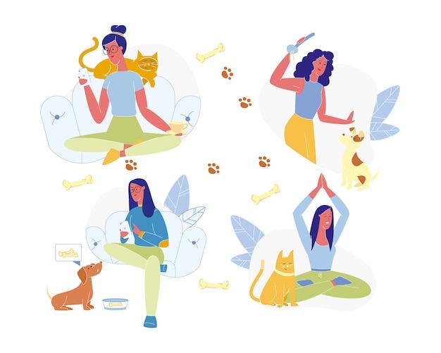 Vrouwelijk karakter besteedt tijd samen met dieren