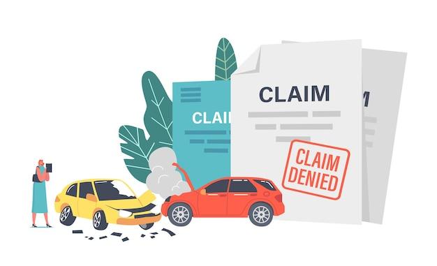 Vrouwelijk karakter claimverzekering voor auto-ongeluk. levens- en eigendomsbeschermingsconcept. auto's rammen op de weg. restitutie voor gezondheidsletsel, trauma of auto-ongeluk. cartoon mensen vectorillustratie