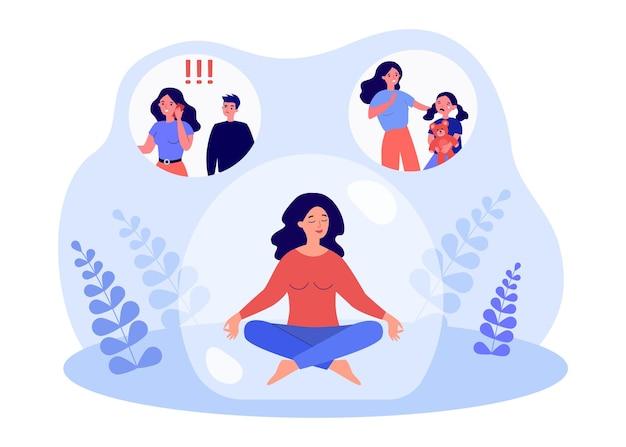 Vrouwelijk karakter dat stress verlicht door in de bel te mediteren. vrouw ontspannen na het omgaan met jaloerse man en verdrietig kind platte vectorillustratie. meditatie, geestelijke gezondheid concept voor banner