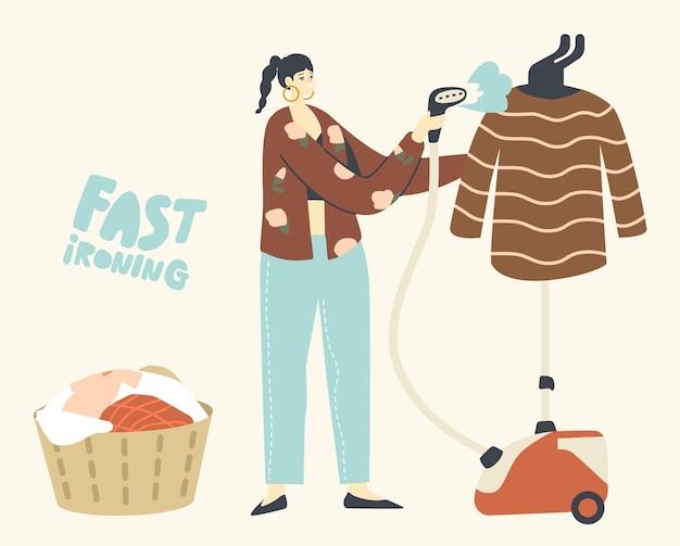 Vrouwelijk karakter gebruik stoomstrijkijzer voor kledingreinigingsstandaard in de woonkamer