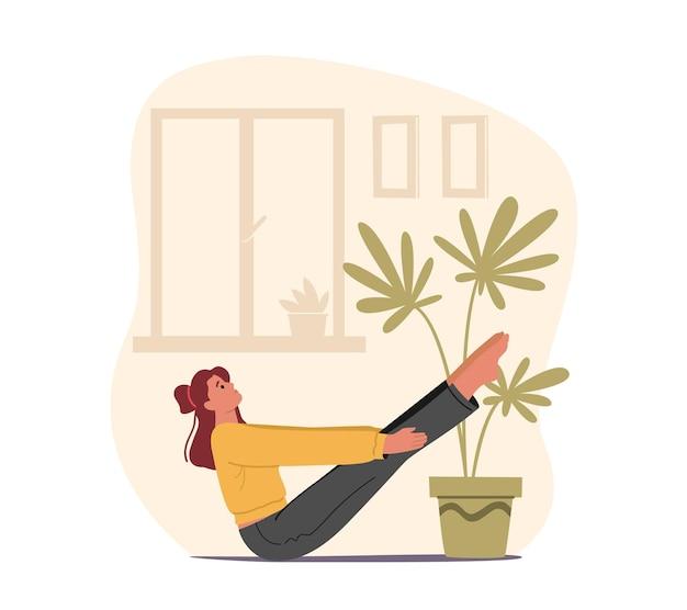 Vrouwelijk karakter in perfecte fysieke vorm die aan fitness, yoga of aerobics doet