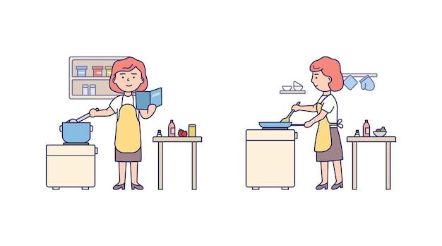 Vrouwelijk karakter met rood haar dat schort draagt. koken keuken interieur