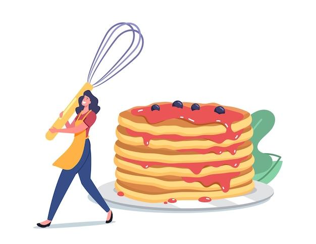 Vrouwelijk karakter ochtendroutine, kookmaaltijd voor familie, kleine vrouw in schort met garde