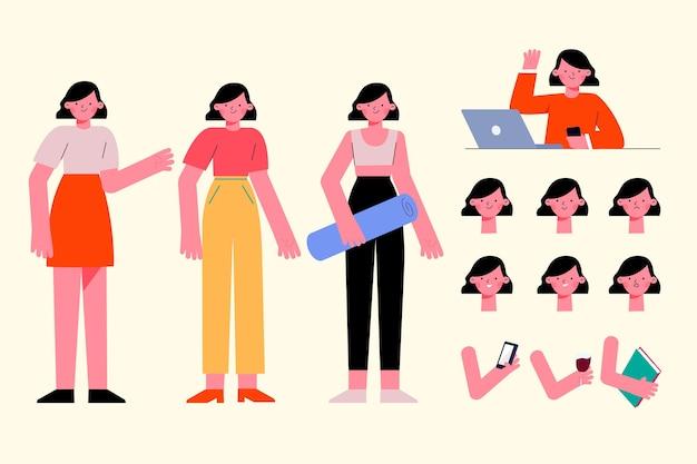 Vrouwelijk karakter vormt plat ontwerp