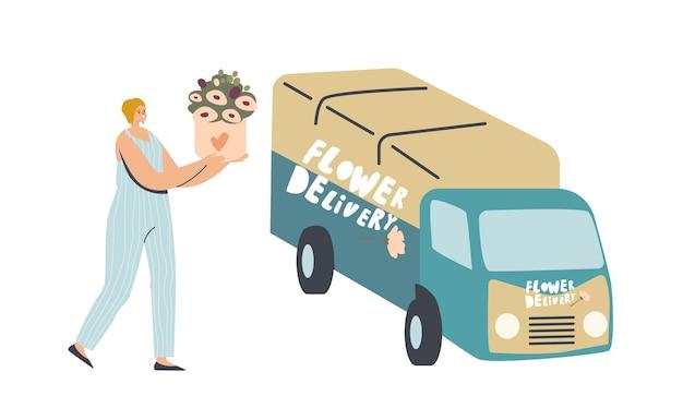 Vrouwelijk koerierspersonage draagt mooi bloemboeket naar bestelwagen om naar klanten te brengen
