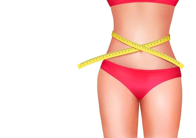 Vrouwelijk lichaam met meetlint. dieet concept.