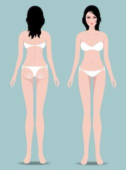 Vrouwelijk lichaam voor en achter. het beeld toont vrouwelijke lichaamsafmetingen.