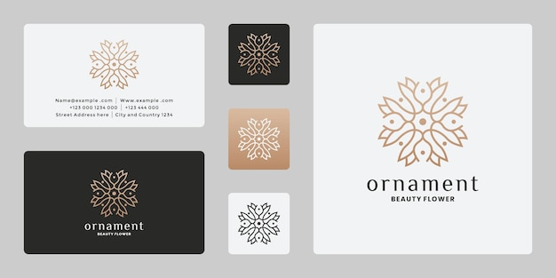 Vrouwelijk lijntekeningen ornament logo-ontwerp voor salon, spa, merk