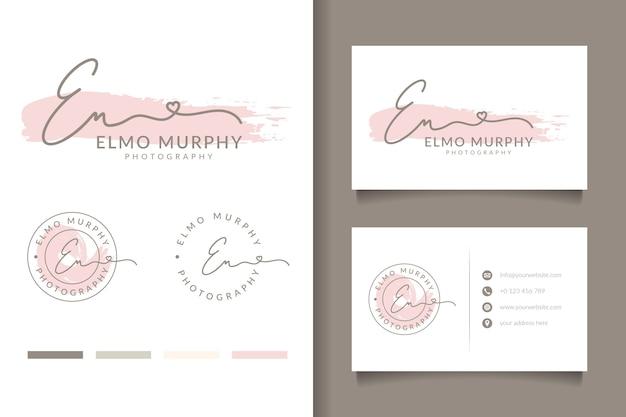 Vrouwelijk logo eerste em en visitekaartjesjabloon
