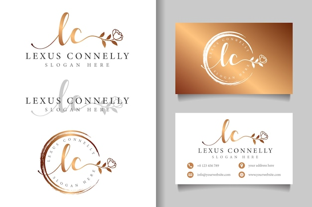 Vrouwelijk logo eerste lc en visitekaartjesjabloon