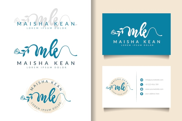 Vrouwelijk logo eerste mk- en visitekaartjesjabloon