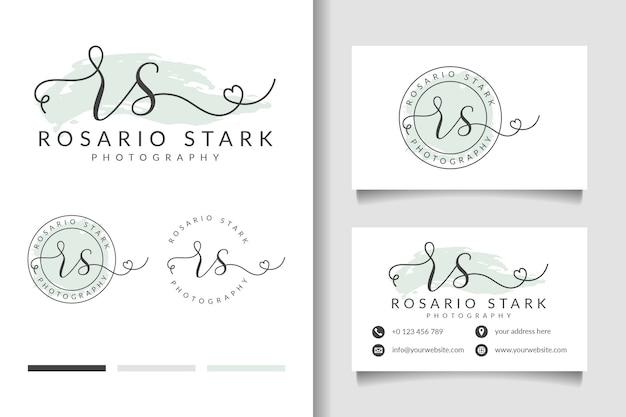 Vrouwelijk logo eerste rs en visitekaartjesjabloon