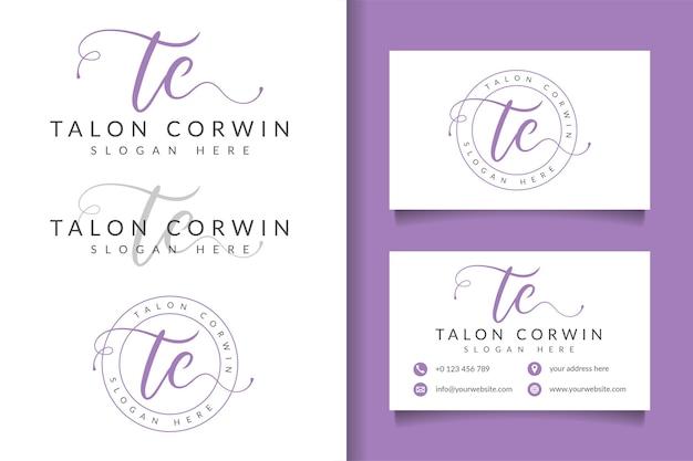 Vrouwelijk logo eerste tc en visitekaartjesjabloon
