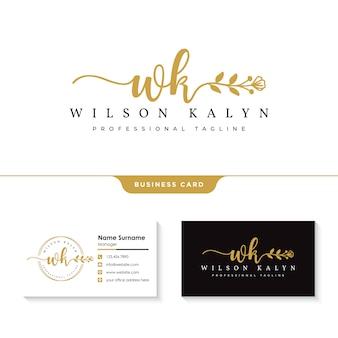 Vrouwelijk logo met sjabloon voor visitekaartjes