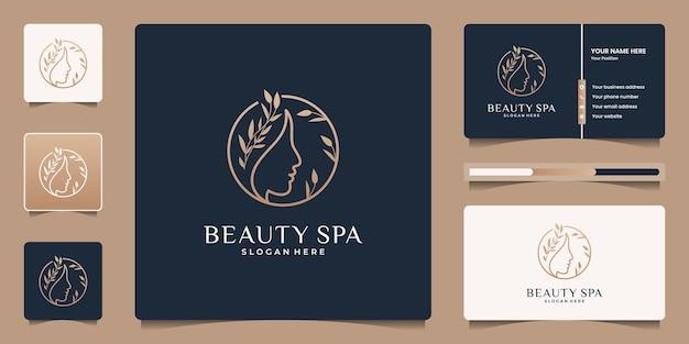 Vrouwelijk logo-ontwerp met het gezicht van schoonheidsvrouwen en abstracte bloemtak logo sjabloon.