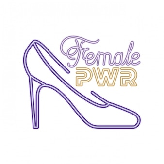 Vrouwelijk machtsetiket met hiel geïsoleerd pictogram