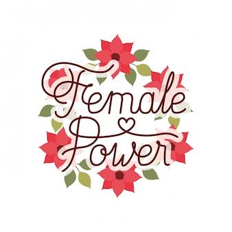 Vrouwelijk machtsetiket met kroon van bloemen geïsoleerd pictogram