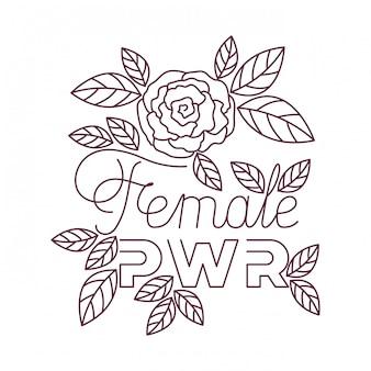 Vrouwelijk machtsetiket met rozenpictogrammen