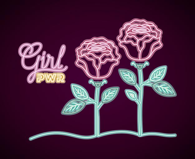 Vrouwelijk neon power label met rozen decoratie