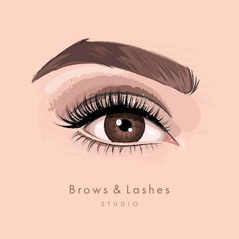 Vrouwelijk oog met lange zwarte wimpers en wenkbrauwen