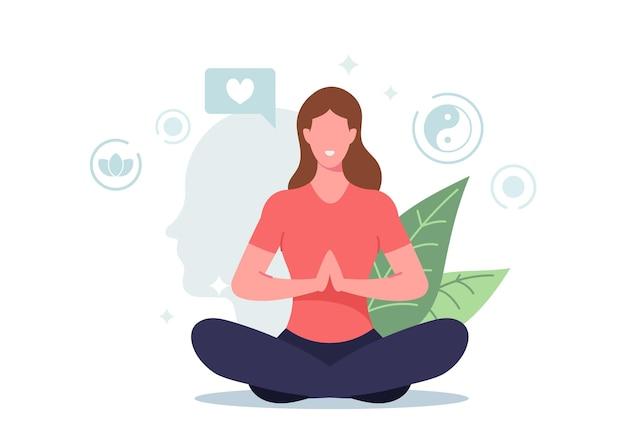 Vrouwelijk personage dat mediteert in lotushouding voelt mentaal evenwicht en zelfbeheersing