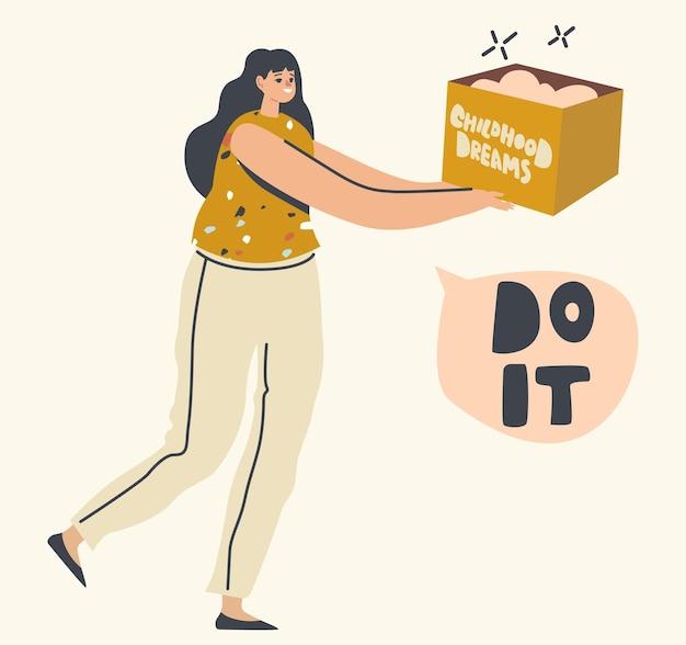 Vrouwelijk personage draagt een doos met kinderdromen. doelen en prestatie van de vrouw