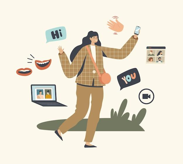 Vrouwelijk personage gebruik videocommunicatietechnologie