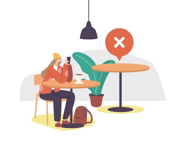 Vrouwelijk personage in café of restaurant bij coronavirus outbreak waiting order chatten via mobiele telefoon met lege tafel in de buurt. sociale afstand en het nieuwe normaal na covid. cartoon vectorillustratie