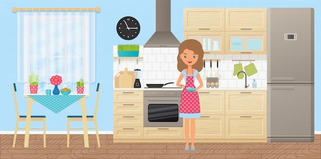 Vrouwelijk personage in de keuken,