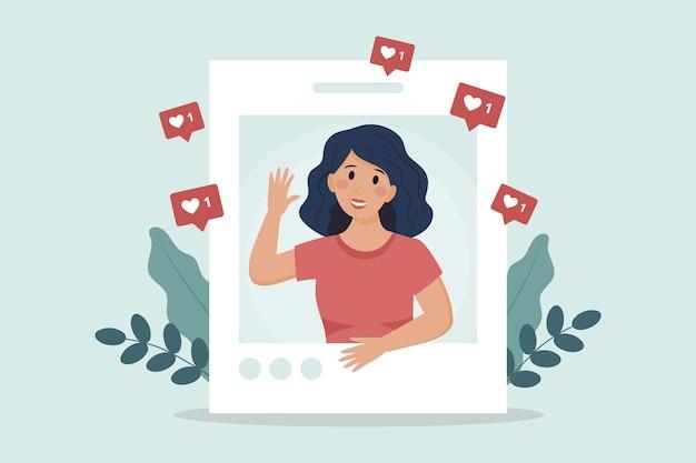 Vrouwelijk personage kijkt uit internet social media photocard Premium Vector