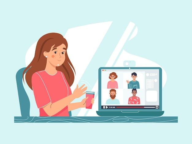 Vrouwelijk personage met een kopje koffie in haar hand chat met vrienden