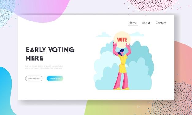 Vrouwelijk personage met stembanner in handen, gezagsgetrouwe burger voert rechten en plichten uit in het politieke leven van de landingspagina van de website, webpagina.