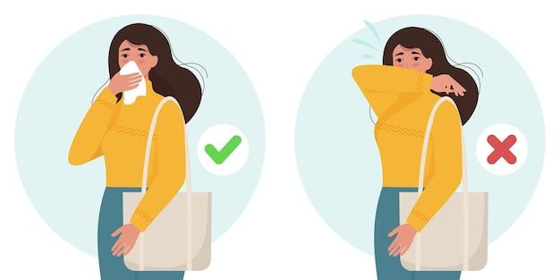 Vrouwelijk personage niezen en hoesten goed en fout. viruspreventie verspreidt zich. illustratie in vlakke stijl