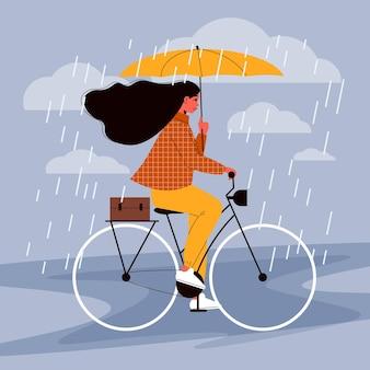 Vrouwelijk personage op een fiets onder regen