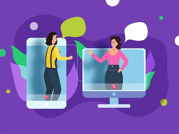 Vrouwelijk personage praten samen van gadget