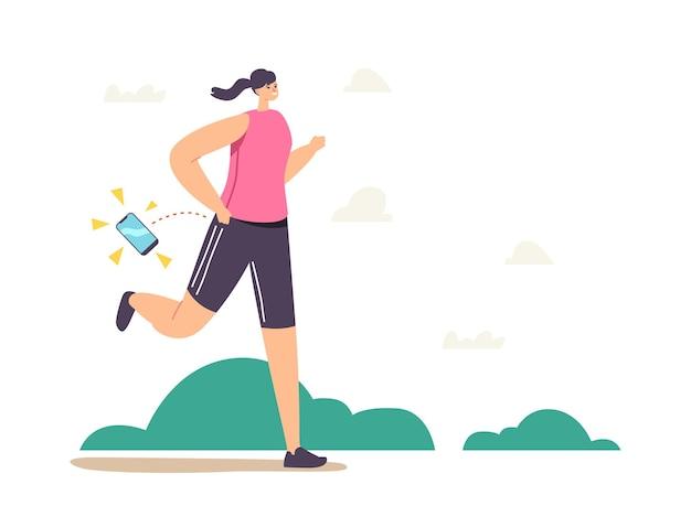 Vrouwelijk personage verliest smartphone tijdens joggen in het park. sportvrouw in sportkleding negeer mobiele telefoon die tijdens het hardlopen op de grond valt. cartoon mensen vectorillustratie