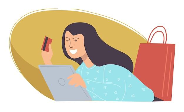 Vrouwelijk personage winkelen en producten kopen bij online winkels en winkels. vrouw die plastic creditcard gebruikt om voor bestellingen te betalen. e-commerce en consumentisme. meisje met tassen. vector in vlakke stijl