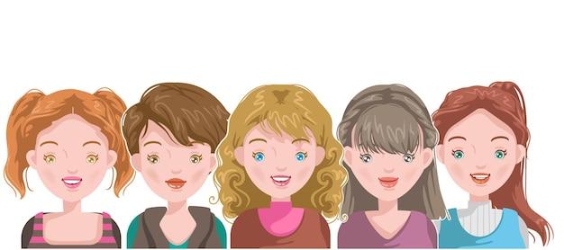 Vrouwelijk portretgezicht en kapsel voor europese meisjesstijl van de puberteit