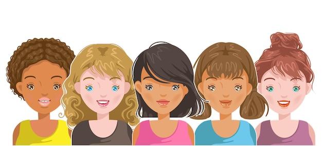 Vrouwelijk portretgezicht en kapsel voor internationale meisjesstijl van de puberteit