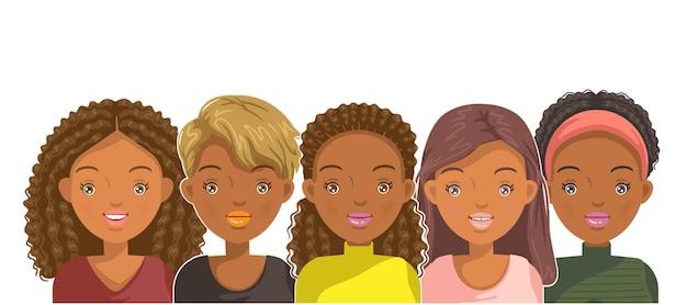 Vrouwelijk portretgezicht en kapsel voor puberteit amerikaanse meisjesstijl