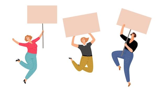 Vrouwelijk protest. meisjes met posters beschermen vrouwenrechten.