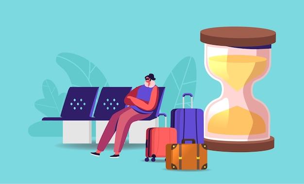 Vrouwelijk reizigerspersonage zit in de wachtruimte van de luchthaven met masker op ogen en probeert te slapen bij enorme zandloper en bagage