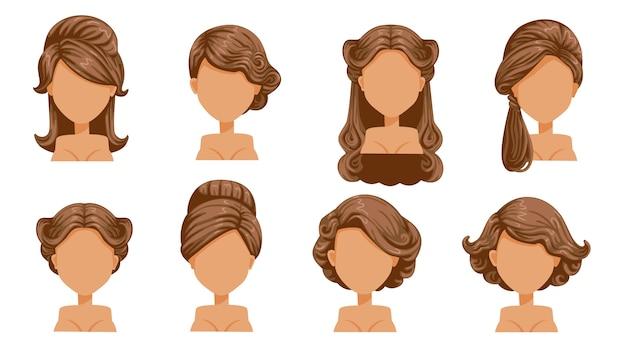 Vrouwelijk retro haar. vintage kapsels van vrouwen. haarkrullen, fijn gekruld haar. oubollig. de klassieker en trendy. salon haarstijlen voor kapsel.