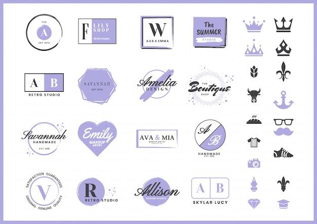 Vrouwelijk retro-logo voor banner