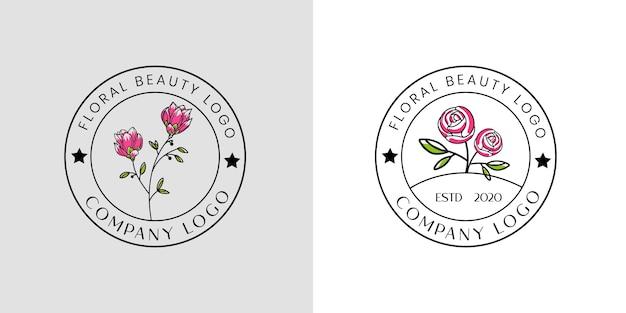 Vrouwelijk schoonheid bloemenlogo voor schoonheidssalon spa en boetiek en cosmetische zaken
