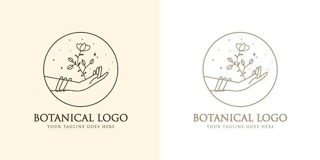 Vrouwelijk schoonheid boho-logo met vrouwelijke hand bloem nagelssterren kristal premium
