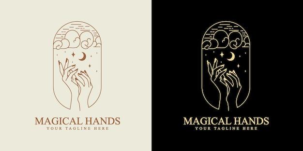 Vrouwelijk schoonheid boho-logo met vrouwelijke hand vlinder maan nagels hart sterren kristal premium