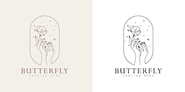 Vrouwelijk schoonheid boho-logo met vrouwelijke hand vlindernagels hartsterren premium