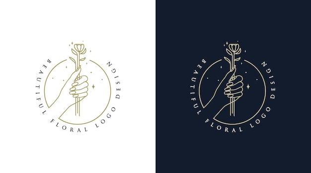 Vrouwelijk schoonheids boho-logo met vrouw hand nagel bloem en ster voor salon hair spa merk