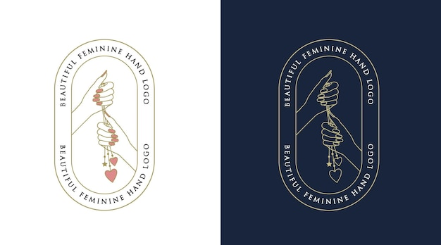 Vrouwelijk schoonheids boho-logo met vrouw hand nagel hart voor make-up salon spa